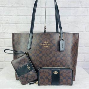 3PCS Coach Avenue Tote Wallet Wristlet Set